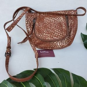 Kooba Monteverde Crossbody BAG Pebbled Brown/Gold
